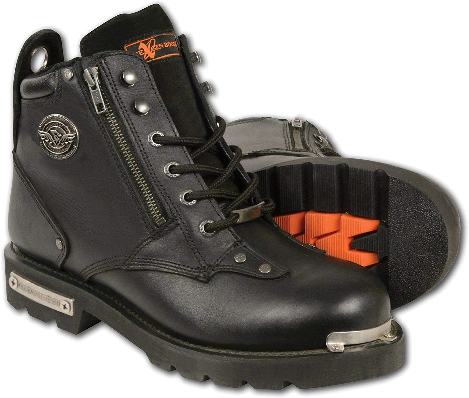 Milwaukee Leather MBM103 Men's Lace-Up Z Double Sided Boots with Indefinitely Over item handling