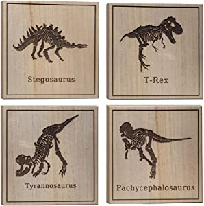 Dinosaurs Wall Art Dinosaur Wooden Wall Decor Laser Engraving T Rex Bone Wall Decorations for Living Room Stegosaurus Fossil Wall Art Carve Room Decor Wood Tyrannosaurus Decor Painting 10x10 Inch x4