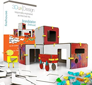 3Dux/design Fire Station Architecture Set - DIY Design, Build & Paint Toy for Kids STEAM Education - 80 Easy to Assemble and Reusable Pieces to Make Building and Fireman - Open Ended Creative Play