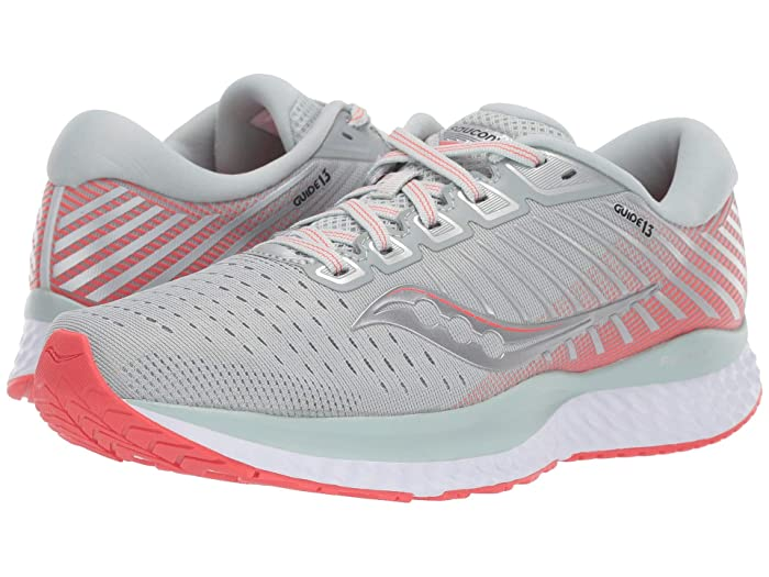 Saucony  Guide 13 (Sky Grey/Coral) Womens Shoes