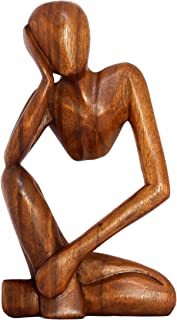 "G6 Collection 12"" Wooden Handmade Abstract Sculpture Statue Handcrafted - Thinking Man - Gift Art Decorative Home Decor Fi..."