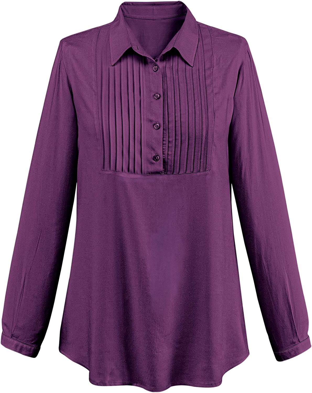 Stylish Lightweight Woven Pintuck Popover Tunic Shirt   Pleated Bust   Button Placket