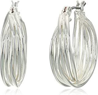Nine West Silver-Tone Twisted Hoop Earrings