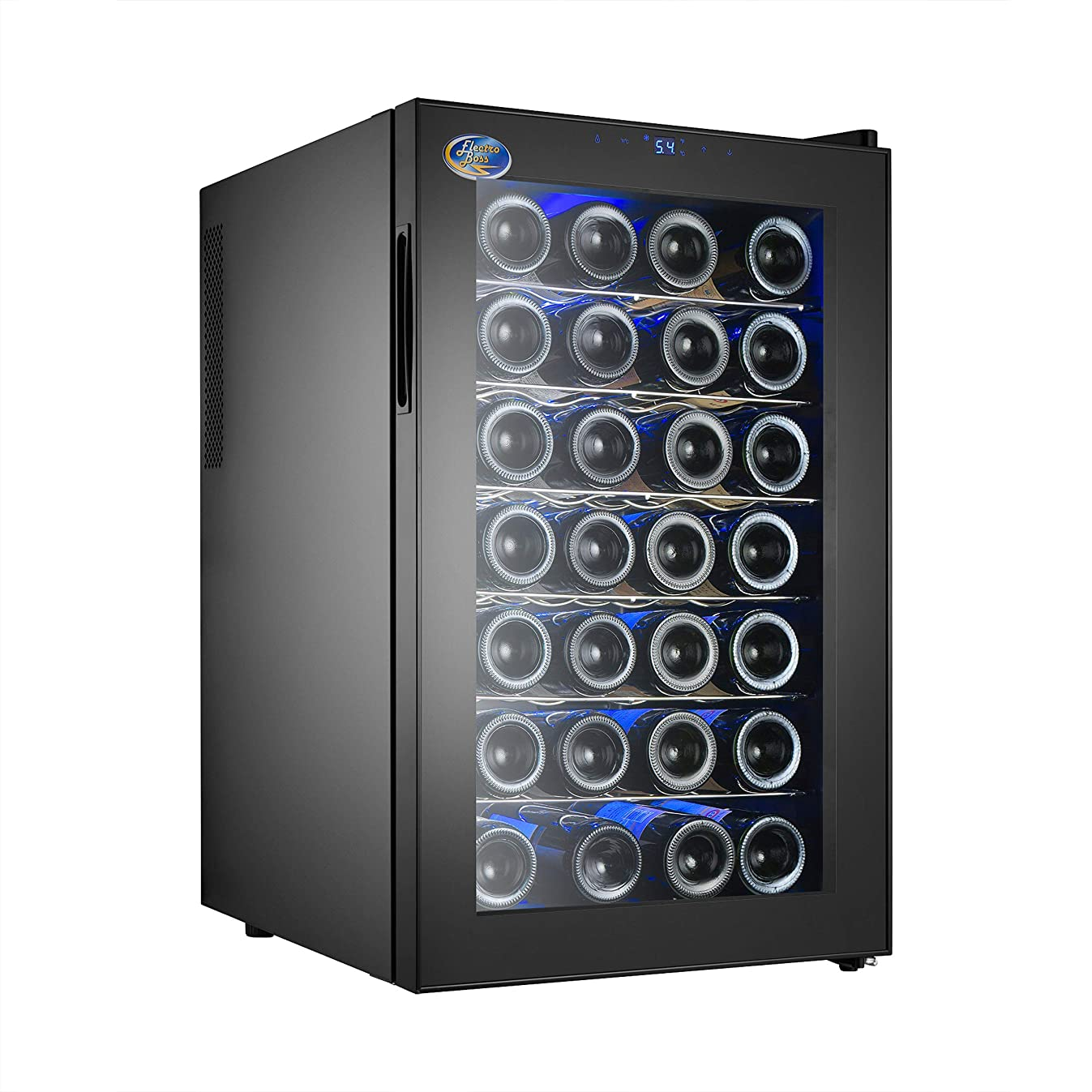 Electro Boss Black 28 Bottle Wine Cooler Thermoelectric Fridge to Chill Red or White, Digital Temperature Display, Reversible Glass Door, Model #5325,