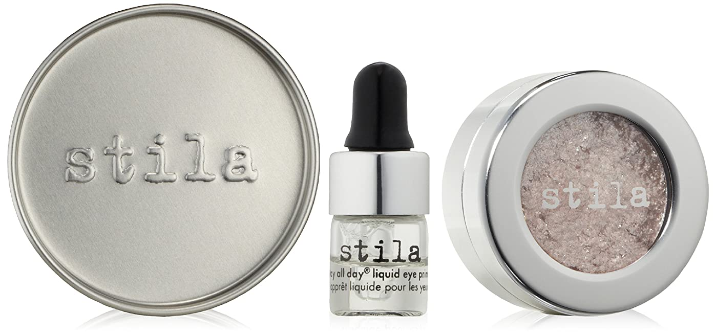 敵汗離婚スティラ Magnificent Metals Foil Finish Eye Shadow With Mini Stay All Day Liquid Eye Primer - Metallic Dusty Rose 2pcs並行輸入品