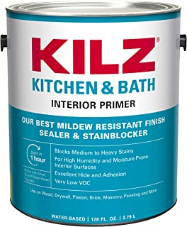 KILZ L204511 Kitchen & Bath Interior Latex Primer/Sealer/Stainblocker with Mildew-Resistant Finish, White, 1-Gallon, 1 Gallon, 4 l