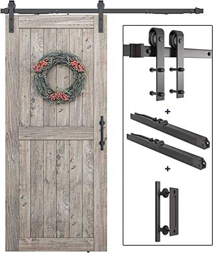 """8 FT Pre-Drilled Soft Close Sliding Barn Door Hardware Kit, Handle - Smoothly and Quietly - Simple and Easy to Install - Fit 48"""" Door Panel (J Shape)"""