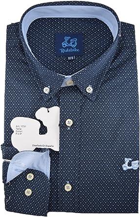 Ridebike Camisa Azul Marino con topitos Blancos Vespa | Slim fit | Diseño del puño a Juego con el Cuello