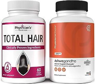 Hair Growth Vitamins (Clinically Proven Ingredients) + Ashwagandha 1950mg Organic Ashwagandha