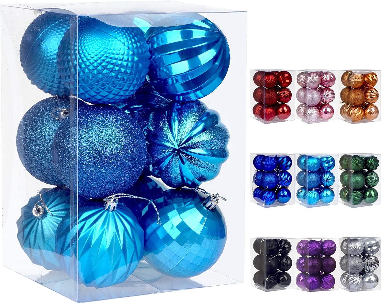 Dohance Christmas Balls Ornaments Xmas Ball Baubles Set Shatterproof Decorative Hanging Ornaments Baubles Set for Xmas Tree Lake Blue, 60mm//2.36