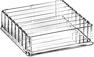 DecorRack Large Acrylic Makeup Organizer Tray Jewelry Box with 7 Dividers, Cosmetic Storage Clear Tray for Beauty Accessor...