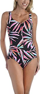 Maxine Of Hollywood Women's V-Neck Side Shirred One Piece Swimsuit