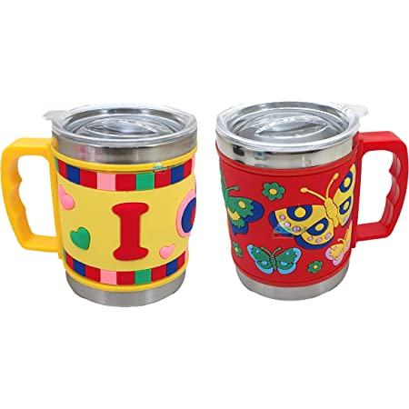 FunBlast Stainless Steel Mug Emboss Hot and Cold Coffee / Milk/ Tea Mug for Kids Cartoon Print Soft Rubber Design Cup - Multicolor-Pack of 2