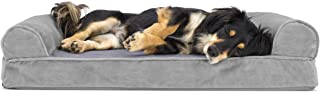 FurHaven Pet Dog Bed   Orthopedic Faux Fur & Velvet Sofa-Style Couch Pet Bed for Dogs & Cats, Smoke Gray, Medium