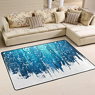 COOSUN Blue and White Music Notes Background Area Rug Carpet Non-Slip Floor Mat Doormats for Living Room Bedroom 36 x 24 i...