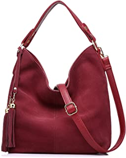 Realer Hobo Bag for Women Tote Leather Purse Crossbody Bag Large (Brick Red)