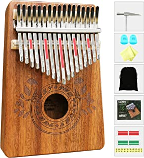 Kalimba 17 Keys Thumb Piano with Study Instruction and Tune Hammer, Portable Mbira Sanza African Wood Finger Piano, Gift for Kids Adult Beginners Professional.