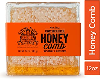 Nature Nate's 100% Pure, Raw Honeycomb; Completely Edible, Thick, Crunchy, Delicate Beeswax with All-Natural Flavor for Delicious Sweetness as a Topping or Addition; Cut into 4x4-in. Squares; 12-oz.