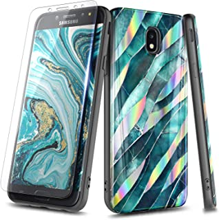 NageBee Case for Samsung Galaxy J7 Crown, J7 Star/J7 Refine/J7 2018/J737/J7 TOP/J7 V 2nd Gen/J7 Aura/J7 Aero with Tempered Glass Screen Protector, Ultra Slim Thin Glossy Stylish Cover Case -Leaf