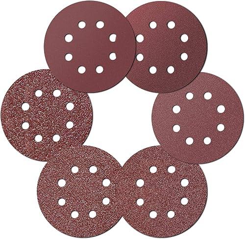 Ealicere 30 Pcs Disques Ponçage Papier Abrasif 125 mm-40/60/80/120/180/240, 8 trous,pour ponceuses excentrique