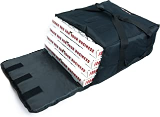 Black Polyester Insulated Pizza / Food Delivery Bag 16″ - 18″ Professional Pizza Delivery Bag- Moisture Free- Holds Multi Pizza Boxes.