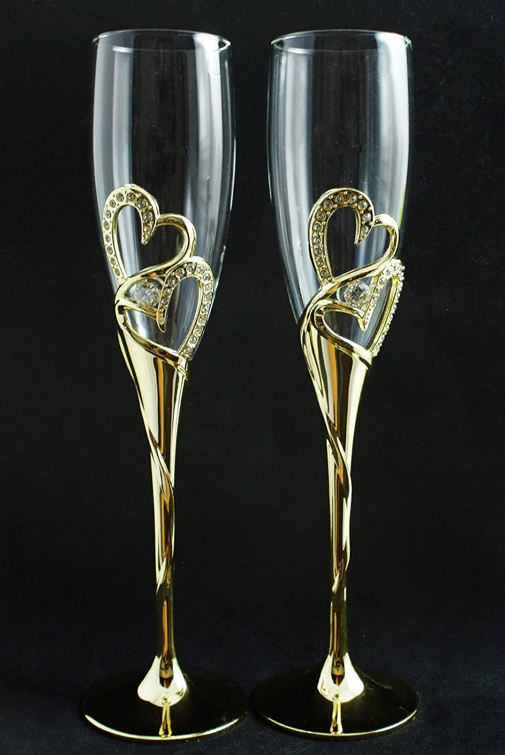 Gold Special Campaign Free shipping anywhere in the nation Double Heart Diamond Wedding Flute Set Glasses Toasting