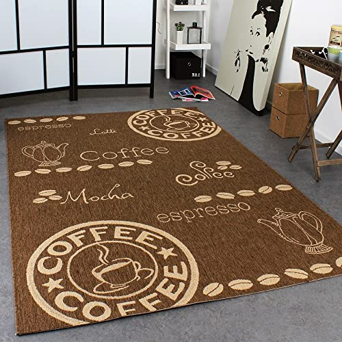 Paco Home Carpet Modern Flat Weave Sisal Look Kitchen Carpet Coffee Brown Beige Tones, Size
