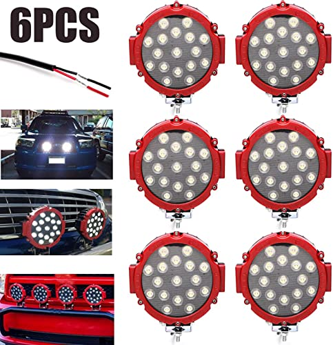lowest 6Pcs Round LED Work Light Spot Beam 6000K Cool online sale White 51W Waterproof Lamps online sale for Off-road Truck ATV SUV Tractor Boat Outdoor Lighting, 2 Year Warranty online sale