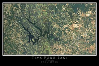 Tims Ford Lake Tennessee Satellite Poster Map L 24 x 36 inch