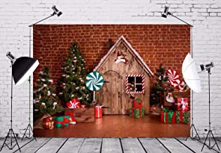 BELECO 7x5ft Christmas Backdrop Christmas Interior with Wooden House Candy Tree and Gifts Photography Backdrop for Family Holiday Celebration New Year Event Party Photo Background Photo Studio