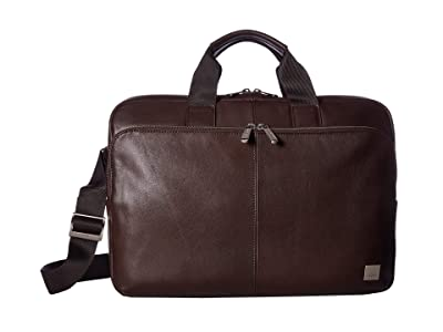 KNOMO London Brompton Classic Newbury Single Zip Brief (Brown) Briefcase Bags