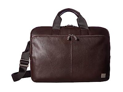 KNOMO London Brompton Classic Newbury Single Zip Brief (Brown) Briefcase Bags