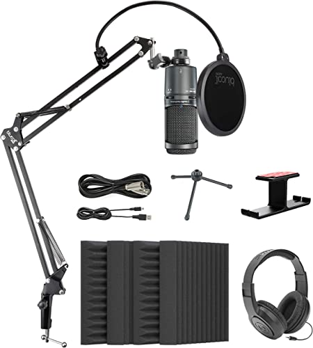 high quality Audio-Technica online sale AT2020USB+ Cardioid Condenser USB Microphone with Built-In Headphone Jack Bundle with Blucoil 4x Acoustic Wedges, Boom Arm Plus new arrival Pop Filter, Headphone Hook, and Samson SR350 Headphones online sale