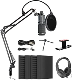 "Audio-Technica AT2020USB+ Cardioid Condenser USB Microphone Bundle with Blucoil 4x 12"" Acoustic Wedges, Boom Arm Plus Pop ..."