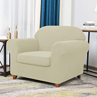 Best CHUN YI Stretch Chair Sofa Slipcover 2-Piece Couch Cover Furniture Protector, 1 Seater Coat Soft with Elastic Bottom, Checks Spandex Jacquard Fabric, Small, Ivory White Review