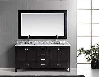 Design Element London Double Sink Vanity Set, 72-Inch, Espresso