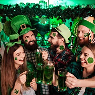 72PCS St. Patrick's Day Tattoos Stickers Green Shamrocks Pattern Irish Style Temporary Body Face Stickers 6 Kinds Patterns...