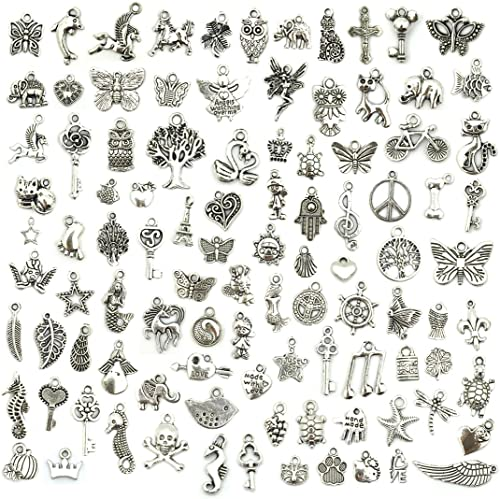 Wholesale Bulk Lots Jewelry Making Silver Charms Mixed Smooth Tibetan Silver Metal Charms Pendants DIY for Necklace B...