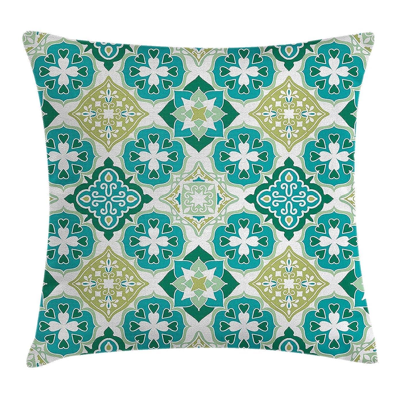気怠い親愛なメダリストモロッコ投げ枕クッションカバー、幾何学的な対角線と三角形の形のクラフトと着色タイルパターン、装飾的な正方形のアクセント枕ケース、18 x 18インチ、グリーンティールホワイト