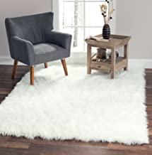 Softest French White Sheepskin Faux Fur Shag Rug Looks Real, NO Animal Cruelty. Perfect for Photographers Designers or Your Bedroom Living Room or Nursery Made in France 5x7 (55 inches x 79 inches)