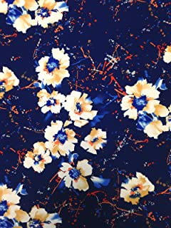 Abstract Floral Pattern on Navy Stretch Lightweight ITY Knit Jersey Polyester Spandex Fabric by The Yard