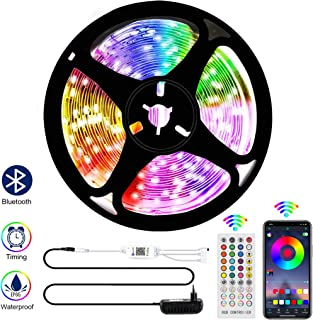 Bluetooth LED Strip Light, 16.4ft/5M Waterproof RGB LED Light Strip 5050SMD Color Changing LED Strip Light, Sync to Music, App Control & Remote Control for Bedroom Kitchen, Home Decoration