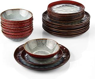 vancasso, Série Starry, Service de Table en Céramique 24 pièces pour 8 Personnes, Assiette Plate, Assiette à Dessert, Bols...