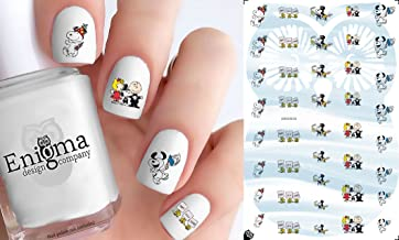 Peanuts New Years (Clear Water-Slide Nail Decals)