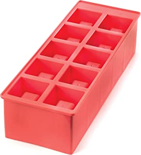 Kikkerland Stackable Ice Shots Tray, Silicone, Red, 24-Piece