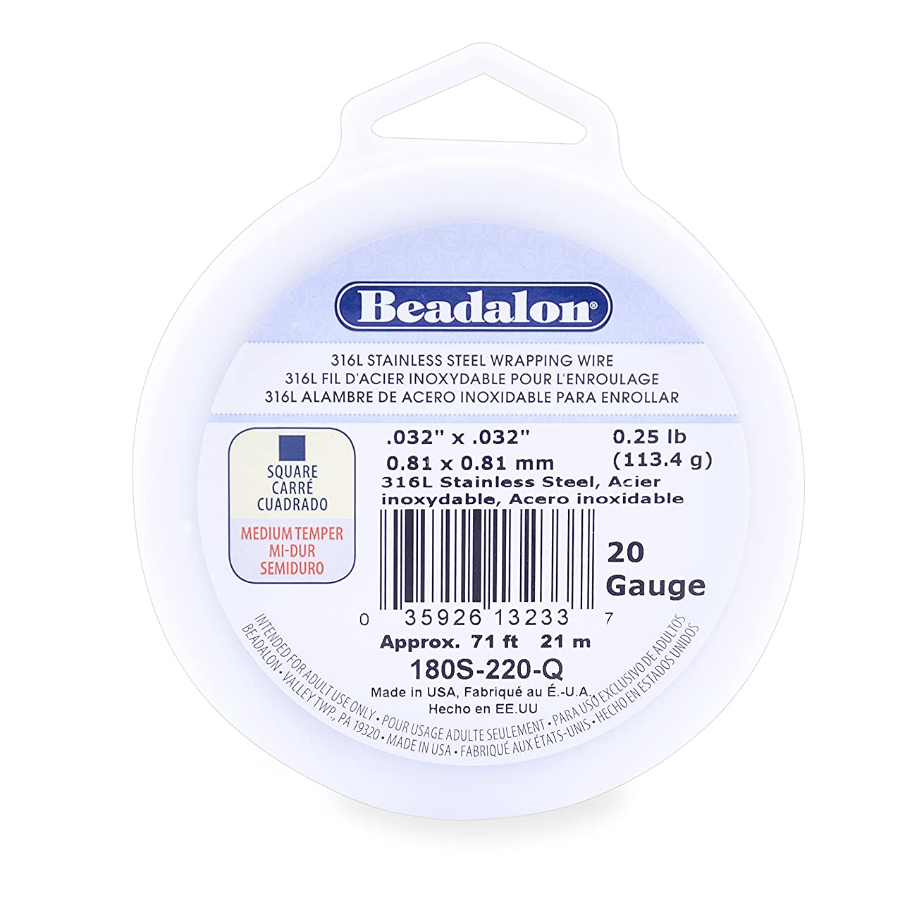 Beadalon 316L Stainless Steel Wrapping Wire, Square, 20 Gauge, 71 feet, 1/4 Pound
