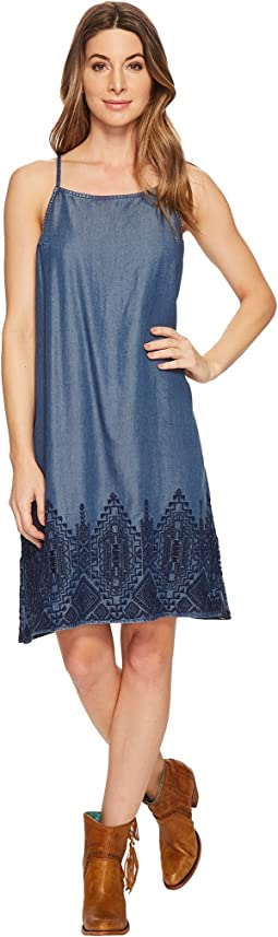 Stetson Tencel Slip Dress with Embroidery