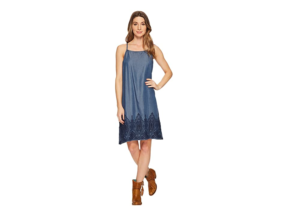 Stetson Tencel Slip Dress with Embroidery (Blue) Women