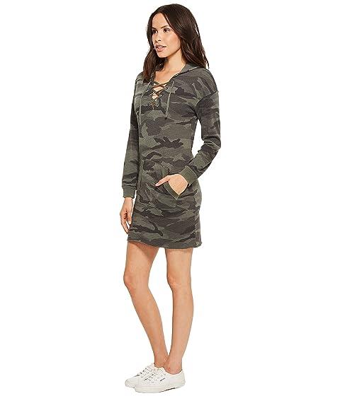 con de cordones capucha la vestido rama vendimia con la Camo Splendid de olivo de BwqgISX