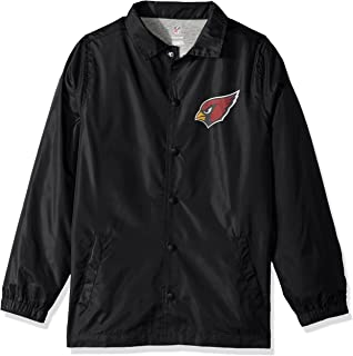 NFL Youth Boys Bravo Coaches Jacket-Black-M(10-12), Arizona Cardinals
